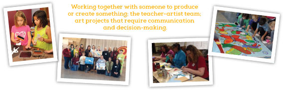 COLLABORATION, Working together with someone to produce or create something; the teacher-artist team; art projects that require communication and decision-making.